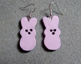 Easter Candy Peeps Bunny Polymer Clay Dangle Earrings Hypoallergenic LARGE Purple