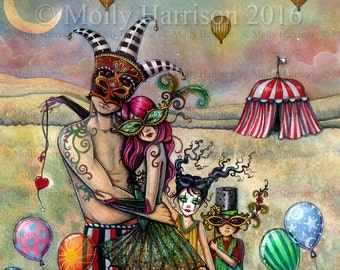 Ten of Cups - Original Watercolor and Mixed Media Painting by Molly Harrison - Published Art 78 Tarot Carnival Project Fantasy Art