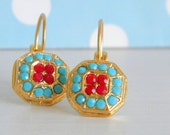 Gold Matte Swarovski Turquoise Coral Red Victorian Style Leverback Earrings
