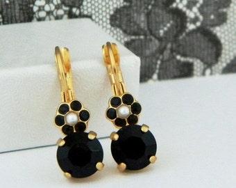 SALE SALE...Jet Black Swarovski Pearl Flower Drop Leverback Earrings
