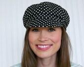 Newsboy Hat, Black and White Polka Dot Hat,  Womens Hat, Womens Newsboy Cap - MADE TO ORDER
