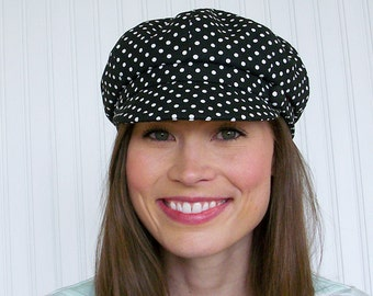 Newsboy Hat, Black and White Hat, Womens Hat, Polka Dot Hat, Womens Cap - L