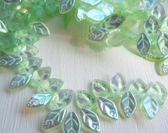 10% OFF Czech Leaf Beads - Czech Glass Leaves - 12mm Peridot AB - Quantity 25
