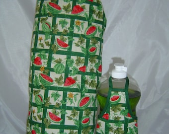 Watermelon Bottle Apron and Grocery Bags Holder Dispenser Organizer Kitchen Decor