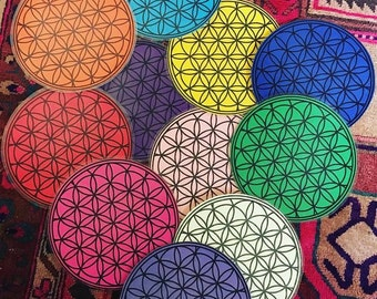 Flower of Life Crystal Grid Mat 8 inch diameter choose colors color magick chakra energy