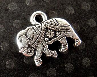 4 Silver Elephant Charms, 12mm, BEST Quality Tierra Cast Silver India Elephant Pendants, Silver Gita Elephant Charms, Lead Free F066