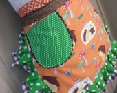CAN SHIP OUT Today - Womens Aprons - Annies Attic Aprons - Woodland Friends Aprons - Hedgehog Aprons - Orange Aprons - Aprons with Hedgehogs