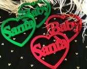 RED or GREEN Santa Baby Acrylic Laser Cut Heart Earrings