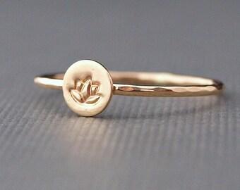 Lotus Ring , Tiny Gold Ring , Yoga Jewelry