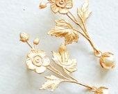 Long Golden Flower and Pearl Stud Earrings, Long Dangle Earrings, Wedding Jewelry, Bridal Earrings, Christmas Gift