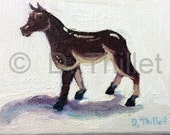 Horse with No Tail - OOAK Original Miniature Oil Painting