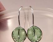 Peridot Green Swarovski Crystal Faceted Bead dangle earrings Sterling Silver