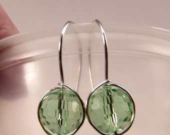 Peridot Green Swarovski Crystal Faceted Bead dangle earrings Sterling Silver