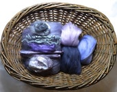 Feltmaking Inspiration Pack Merino Wool, Silks, Locks Mauves, purples