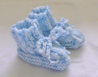 Newborn Baby Boy Booties Hand Knitted Blue and White