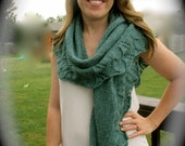 "Hand knit all season shawl or wrap in heather green with 4"" of cable trim around the bottom, large shawl, pashmina wrap, kerchief scarf"