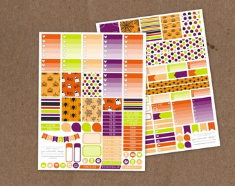 Printable Deluxe Cartoon Halloween Weekly Kit- Ombre Check Boxes, Icon Stickers, Pattern boxes - ECLP, MAMBI Happy Planner, Filofax