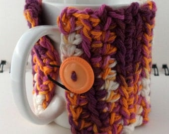 Crocheted Coffee or Ice Cream Cozy, Rainbow Sherbet (Pink, Orange, and White) (SWG-Z10)