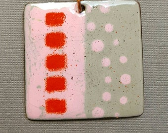 Enameled Gray, Pink and Red Copper Square Pendant