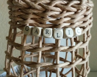 "Garlic Baskets with letter beads - says ""GARLIC"""