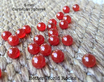 NEW! 6pcs Carnelian Spheres, 6 mm Chakra Stones, Round Spheres, Small Red Gemstones, Fairy Garden, NO HOLE, 1/4 in