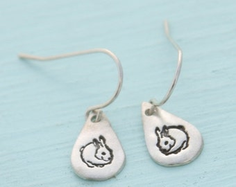 ON SALE BUNNY earrings, hook earrings with Chubby bunny, eco friendly silver.  Handcrafted by Chocolate and Steel.