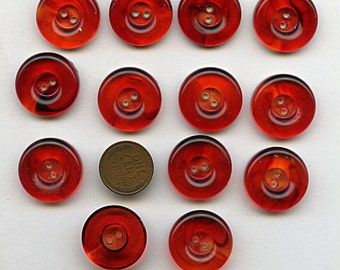 Matching Set of (13) RED Translucent Transparent Vintage Plastic Dress  Buttons 7/8 Inch Size 1585