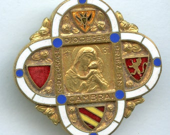 """Vintage """"Diocese of Cambrai"""" Nice Souvenir Enameled French Brooch Pin France Paris Roman Catholic Archdiocese of Cambrai Religious 1879"""