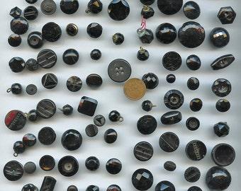 VICTORIAN Black Glass Buttons WHOLESALE Lot of 100 Plus Antique Vintage FACETED  1920