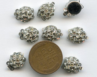 "RHINESTONE CLASPS  Lot of (10) Domed Vintage Two Strand NOS New Old Stock 9 mm 3/8"" jc rhclsp1  More Available"