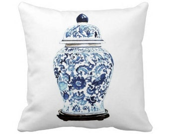 GINGER JAR No. 4  PILLOW 2 Colors & 4 sizes -  (indoor and outdoor fabrics)