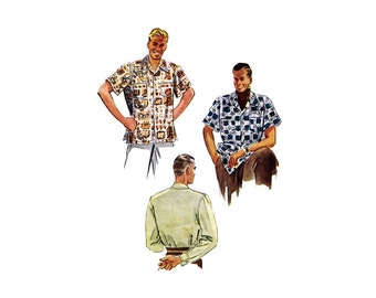 1940s Mens Sports Shirt McCall 7499 Vintage Sewing Pattern Small Chest 34 - 36