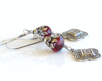 Edwardian Deep Red Czech Glass Crystals Sterling Silver Earrings Engraved Four Leaf Clover Charms Trending Earrings Gift For Her