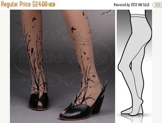 10%Off// small/medium fabulous FORESTt SYMPHONY tattoo stockings / full length / pantyhose / nylons Deep Mocha