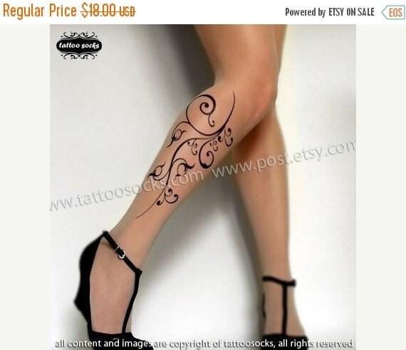 Sale/15%Off/EndsSep30/ sexy FLORA TATTOO thigh-high socks Light Mocha XS/S/M