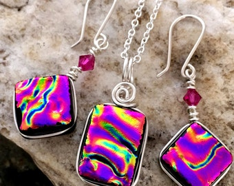 Dichroic Glass Earring and Small Pendant Matching Set - Wire Wrapped Beautiful Pink Ripple