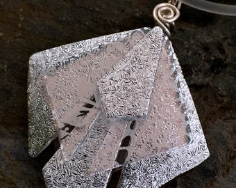 """Stunning Translucent SILVER Unique 3D Dichroic Glass Pendant with Adjustable 16"""" - 18.5"""" Clear Necklace"""