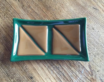 Green and Brown Fused Glass Soap Dish