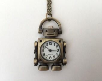 Antique Bronze Robot Watch Necklace