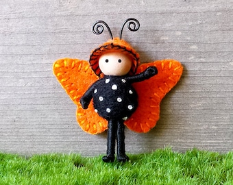 Tiny Butterfly doll Orange and Black