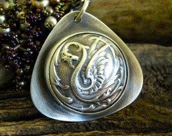 dragon necklace, sterling silver dragon necklace, stamped sterling silver dragon necklace, dragon pendant