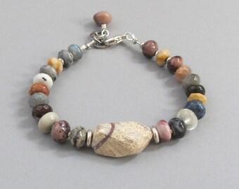 Agate Bracelet Sterling Silver DJStrang Gemstone Boho Cottage Chic Labradorite Quartz Earthy Browns Greys