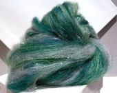 Silver Green Art Batt, Felting wool, spinning fiber roving, Firestar, pine, Teal green, yellow green, silver Christmas, holiday decor