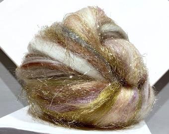 "fiber art batt, felting, spinning fiber ""Wilde Treasure"" PHAT FIBER edition gold tan brown white Silver Grey pewter sage violet champagne"