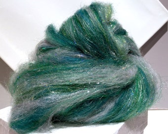 Silver Green Art Batt, Felting wool, spinning fiber roving, Firestar, pine, Teal green, yellow green, silver Christmas, holiday decor