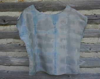 Silk cotton shibhori Indigo dyed top