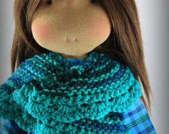 "Reggiesdolls Waldorf doll cotton dress and wool shawl for a 18"" to 20 "" doll  2 pc"