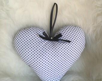 Mini Back & White Polka Dots Heart Pillow