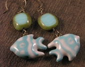 Turquoise and white angel fish earrings, czech glass beads and antique brass handmade earrings