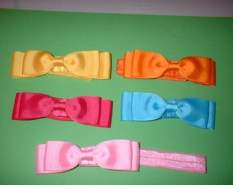 3 1/2  inch  Hair Bows on Headbands In  colors( 15)  total of 5